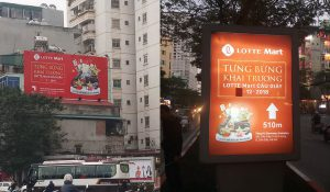Biển pano hiflex quảng cáo & Biển hộp đèn quảng cáo Lotte Mart