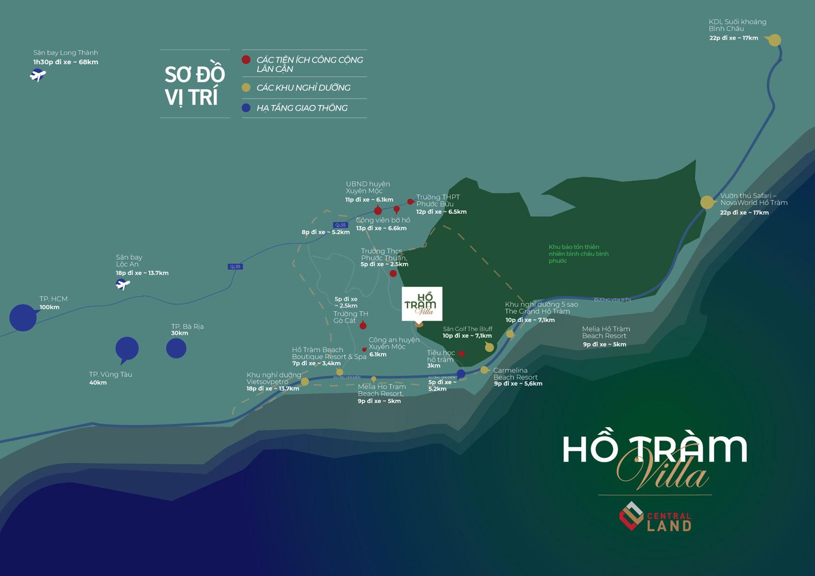 Minh họa vị trí khu bất động sản Hồ Tràm Central Land, bởi hcall