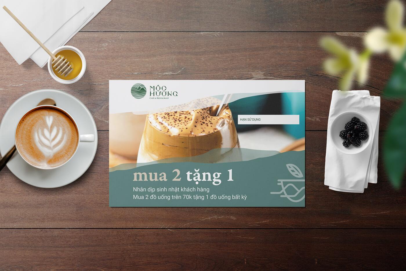 Thiết kế thương hiệu quán cafe Mộc Hương - Thái Nguyên - voucher