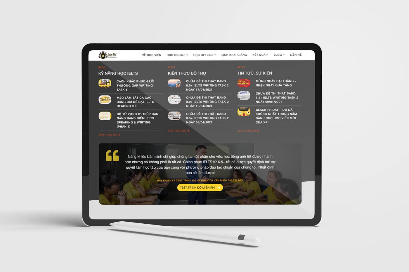 Thiết kế website Trung tâm tiếng anh Xuân Phi  tạo trải nghiệm tốt hơn cho học viên
